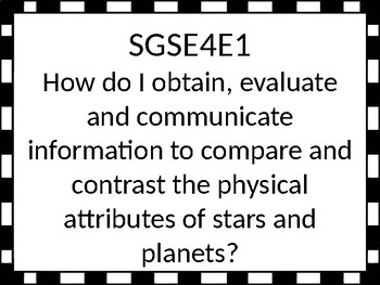 Georgia Performance Standards Essential Questions / Vocabulary 4th grade Science