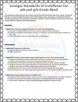 Georgia Performance Standards GPS - Music - Checklist for Lesson Plans K-5