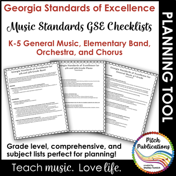 Georgia Performance Standards GPS - Music - Checklist for Lesson Plans K-5