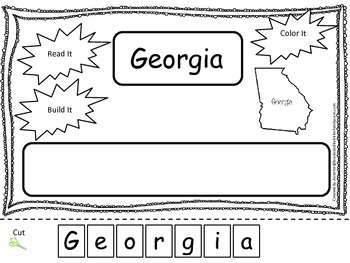 Georgia Read it, Build it, Color it Learn the States preschool worksheet.