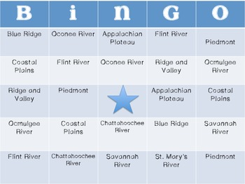 Georgia Region and River Bingo