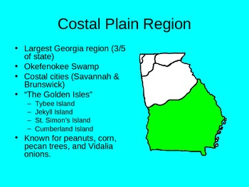 Georgia Regions & Rivers PowerPoint goes along with Common Core Reading Unit 3