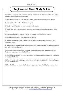Georgia Regions and River Study Guide
