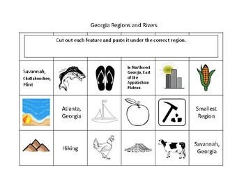 Georgia Regions and Rivers Cut and Paste