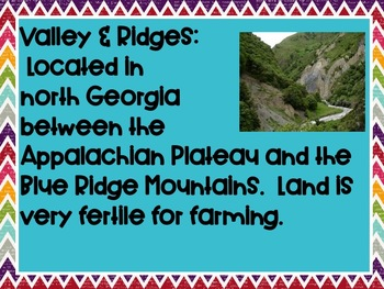 Georgia Regions and earth science vocabulary word wall cards