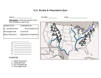 Georgia SS3G1 3rd Grade Rivers & Mountains Quiz