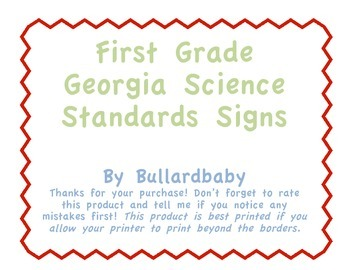 "Georgia Science Standard Signs 1st Grade contain ""I Can"" statements"