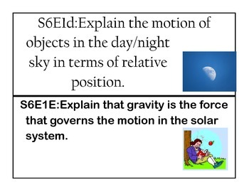Georgia Sixth Grade Science Standards and Elements Cards