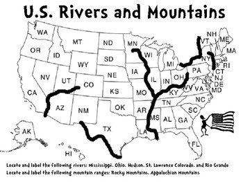 Georgia Social StudiesMap Skills Activity Bundlerd Grade TpT - Us map with rivers and mountains