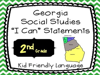 Georgia Social Studies Standards Posters as I CAN Statements-2nd Grade