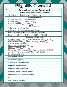 Georgia Special Education Eligibility Checklist