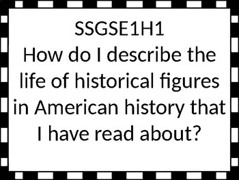 Georgia Standards of Excellence 1st grade Social Studies Essential Questions