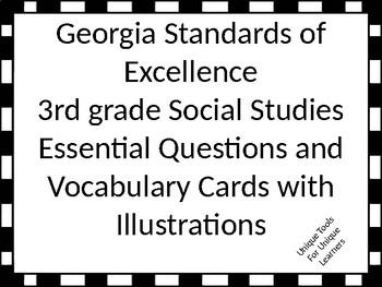 Georgia Standards of Excellence 3rd grade Social Studies EQ/vocabulary cards.