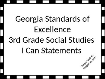 Georgia Standards of Excellence 3rd grade Social Studies I