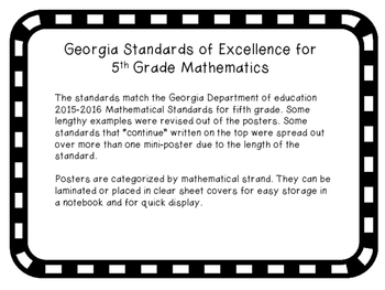 5th Grade Math Georgia Standards of Excellence Posters