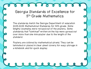 5th Grade Math Georgia Standards of Excellence Color Posters