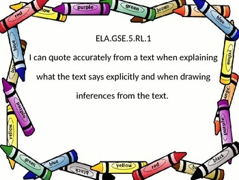 Georgia Standards of Excellence 5th grade ELA I Can statements