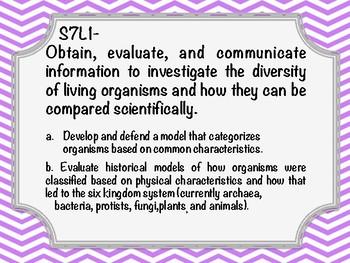 Georgia Standards of Excellence 7th Grade Life Science Chevron Bright Purple