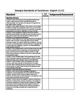 Georgia Standards of Excellence English 11-12 strand checklist