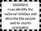 Georgia Standards of Excellence I Can Statements Kindergarten Social Studies