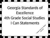 Georgia Standards of Excellence I Can Statements for 4th grade Social Studies