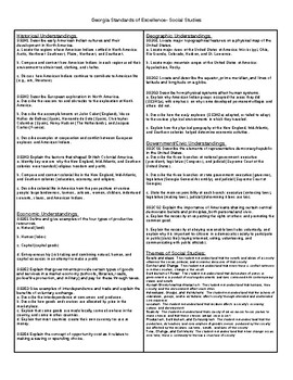 Georgia Standards of Excellence One Page Guide Science and Social Studies