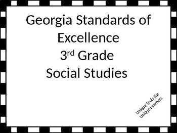 Georgia Standards of Excellence Posters for 3rd grade Social Studies