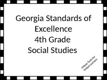 Georgia Standards of Excellence Posters for 4th grade Social Studies