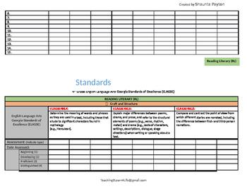 Georgia Standards of Excellence: Standards Mastery Checklist ELA Grade 4