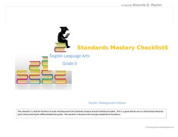 Georgia Standards of Excellence: Standards Mastery Checklist ELA Grade 5