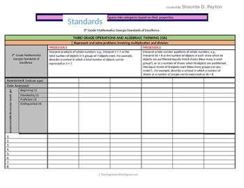Georgia Standards of Excellence: Standards Mastery Checklist Math Grade 3
