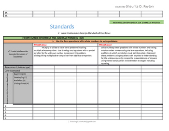 Georgia Standards of Excellence: Standards Mastery Checklist Math Grade 4