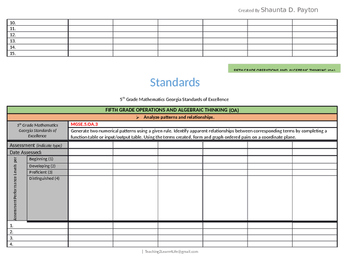 Georgia Standards of Excellence: Standards Mastery Checklist Math Grade 5
