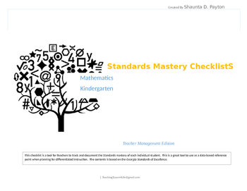 Georgia Standards of Excellence: Standards Mastery Checklist Math- Kindergarten