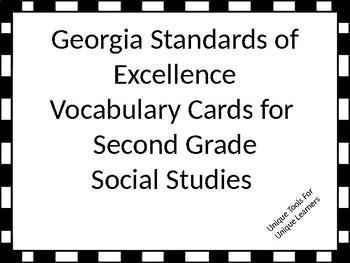 Georgia Standards of Excellence Vocabulary Cards Second Grade Social Studies