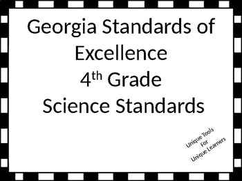 Georgia Standards of Excellence for 4th grade Science