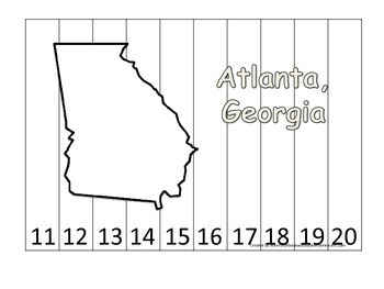 Georgia State Capitol Number Sequence Puzzle 11-20.  Geography and Numbers.