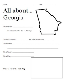 Georgia State Facts Worksheet: Elementary Version