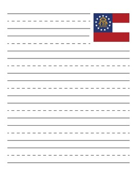 Georgia State Flag Primary Lined Paper