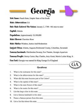 Georgia State Information & Worksheet