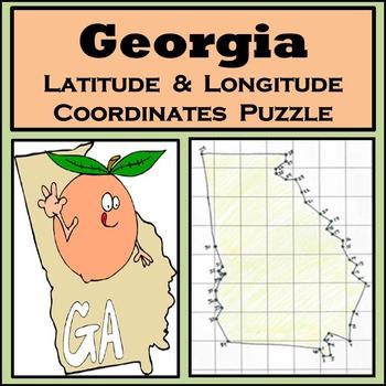 Georgia State Latitude and Longitude Coordinates Puzzle - 40 Points to Plot