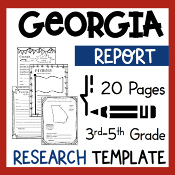 Georgia State Research Report Project Template + Bonus Timeline Craftivity  GA