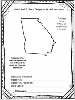 Georgia State Research Report Project Template + bonus timeline Craftivity GA