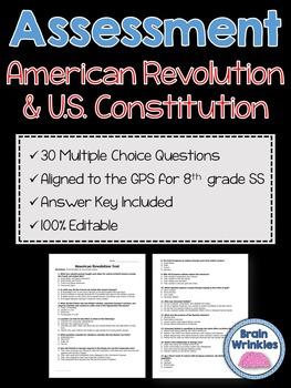 Georgia Studies: American Revolution and U.S. Constitution Assessment (Editable)
