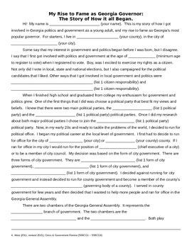 Georgia Studies Civics & Government Review Worksheet
