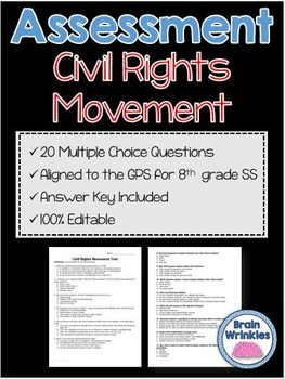Georgia Studies: Civil Rights Movement Assessment (Editable)