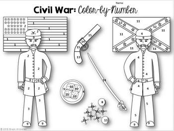 Georgia Studies: Civil War Color-by-Number Activity