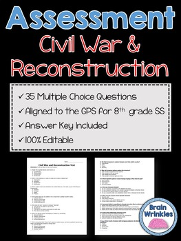 Georgia Studies: Civil War and Reconstruction Assessment (Editable)