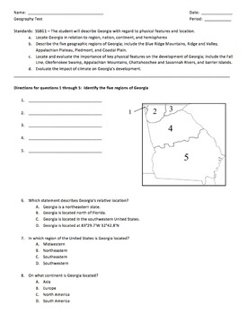 Georgia Studies:  Georgia's Geography Test - SS8G1