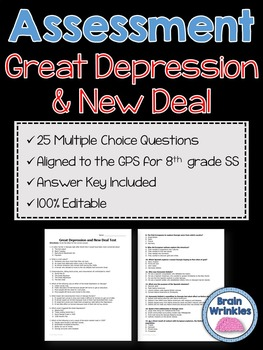 Georgia Studies: Great Depression and New Deal Assessment (Editable)